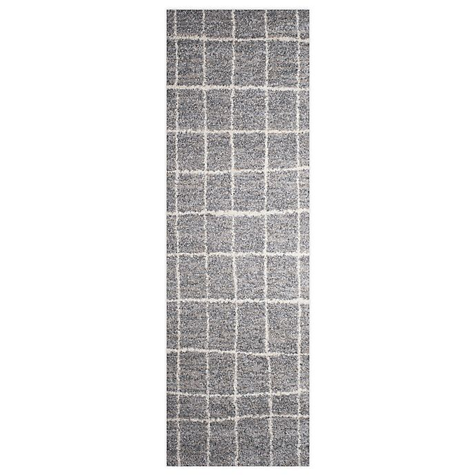 Alternate image 1 for Gridwork 2-Foot 3-Inch x 7-Foot 2-Inch Runner in Grey/White