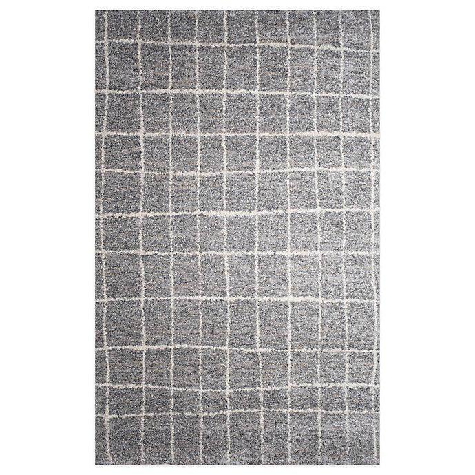 Alternate image 1 for Gridwork 5-Foot 2-Inch x 7-Foot 2-Inch Area Rug in Grey/White