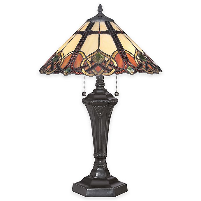 Alternate image 1 for Quoizel Cambridge 2-Light Table Lamp in Vintage Bronze with Tiffany Glass Shade