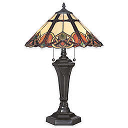 Quoizel Cambridge 2-Light Table Lamp in Vintage Bronze with Tiffany Glass Shade