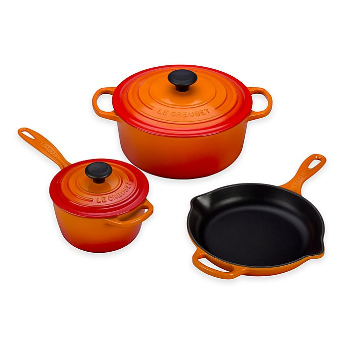 Alternate image 1 for Le Creuset® Signature 5-Piece Cookware Set in Flame