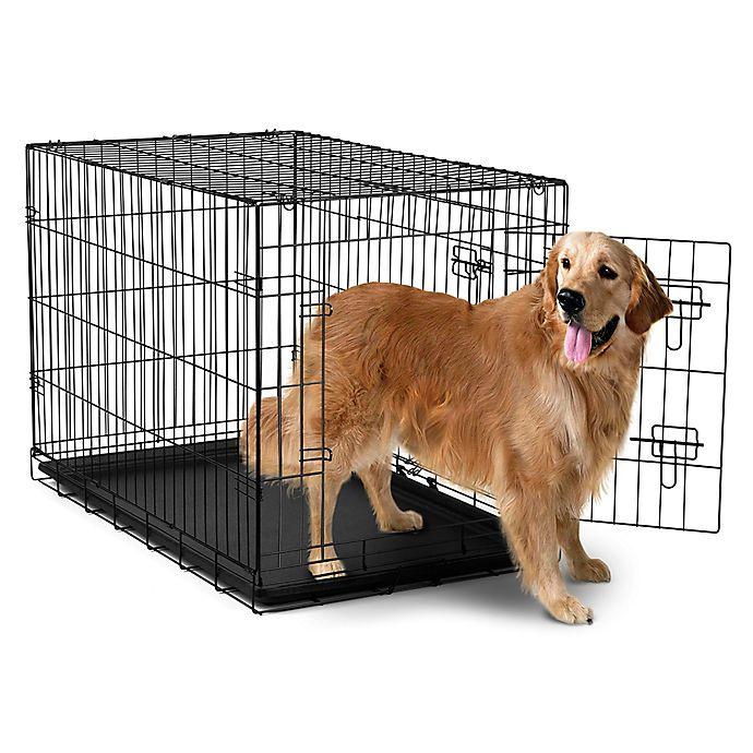 Alternate image 1 for OxGord® Metal Double Door Pet Crate in Black