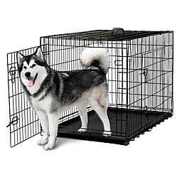 OxGord® Metal Double Door Pet 48-Inch Crate in Black
