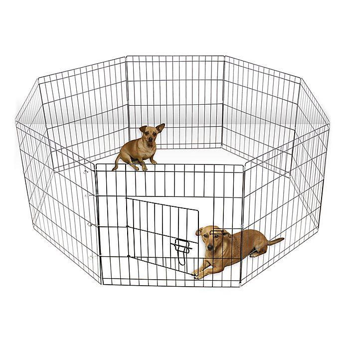Alternate image 1 for OxGord® Wire Pet Play Pen in Black