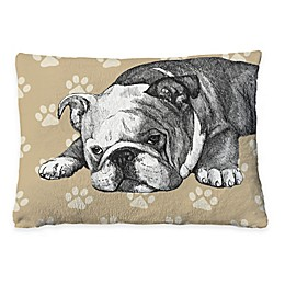 Laural Home Bulldog Sketch Fleece Dog Bed