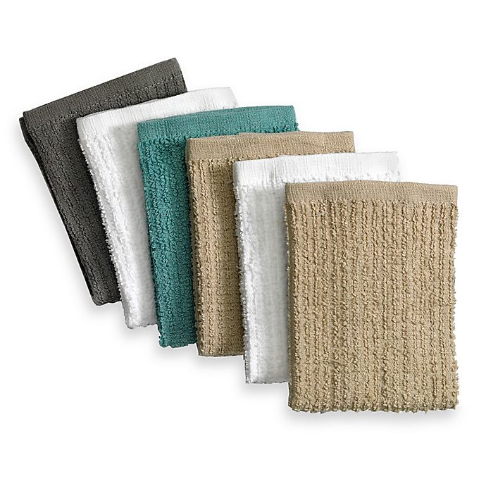 real simple® 6-pack bar mop dish cloths in multi   bed bath & beyond