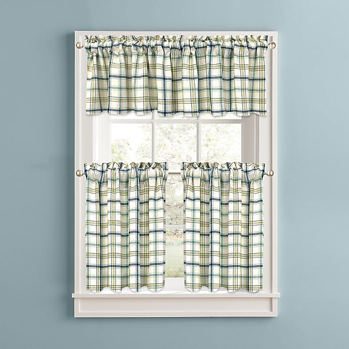 Alternate image 1 for Bistro Plaid Kitchen Window Curtain Tiers and Valance