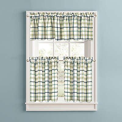 Bistro Plaid Kitchen Window Curtain Tiers and Valance