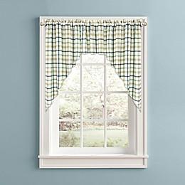 Bistro Plaid Kitchen Window Curtain Swag Pair