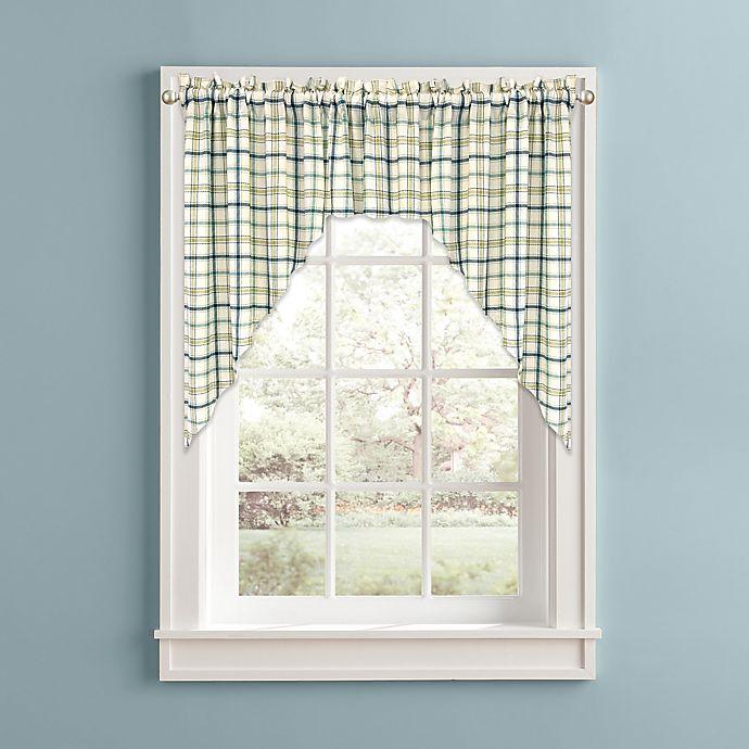 Alternate image 1 for Bistro Plaid Kitchen Window Curtain Swag Pair