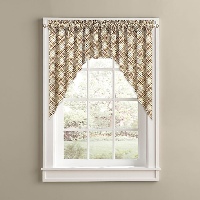Alternate image 1 for Woodland Plaid Kitchen Window Curtain Swag Pair