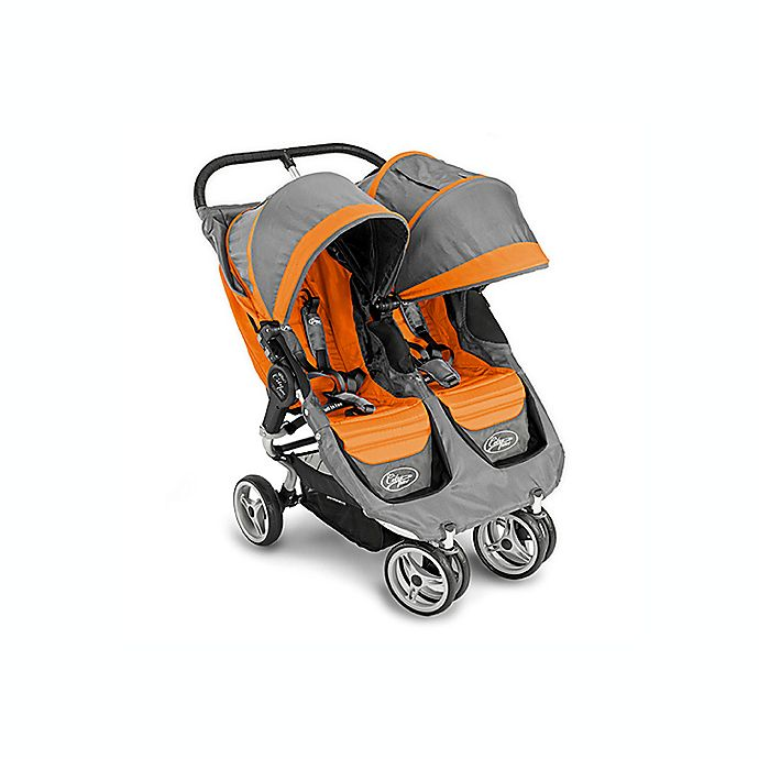 Baby Jogger City Mini Double Stroller Orange Grey Bed Bath