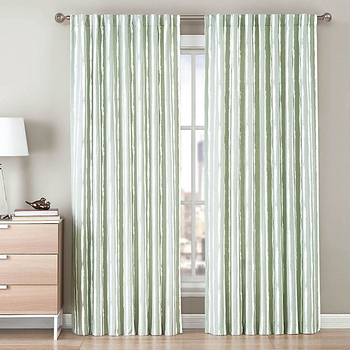 Alternate image 1 for Be Artistic Ellis Painted Stripe 108-Inch Rod Pocket/Back Tab Window Curtain Panel in Green