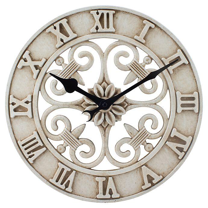 14 Inch Cast Iron Indooroutdoor Round Wall Clock In Antique White