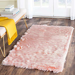 Safavieh Faux Sheep Skin 3-Foot x 5-Foot Area Rug in Pink