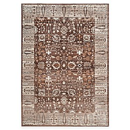 Safavieh Valencia Floral Border Rug in Brown/Beige