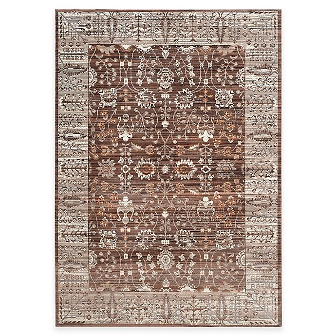 Alternate image 1 for Safavieh Valencia Floral Border Rug in Brown/Beige