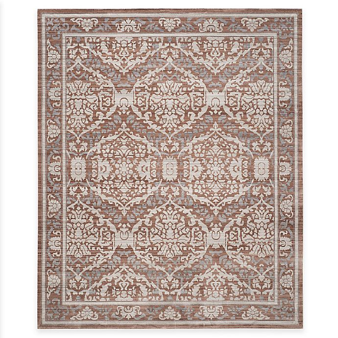 Alternate image 1 for Safavieh Valencia Damask Border 8-Foot x 10-Foot Area Rug in Grey/Brown