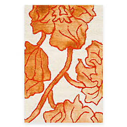 Safavieh Dip Dye Floral 5-Foot x 8-Foot Area Rug in Ivory/Orange