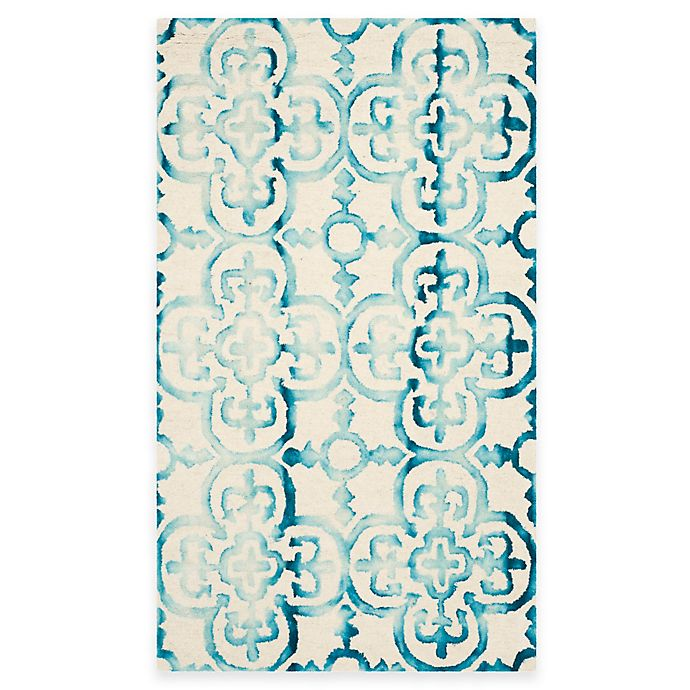 Alternate image 1 for Safavieh Dip Dye Clover 3-Foot x 5-Foot Area Rug in Ivory/Turquoise