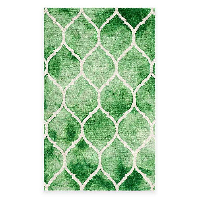 Alternate image 1 for Safavieh Dip Dye Lattice 4-Foot x 6-Foot Rug in Green/Ivory