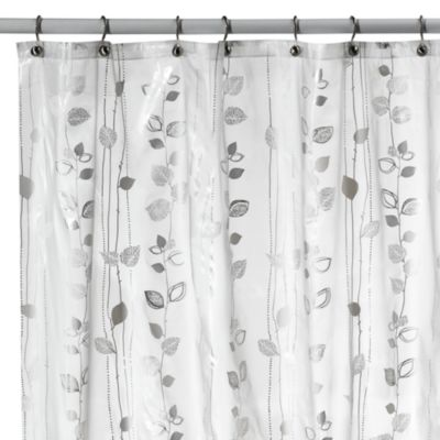Ivy Silver Vinyl Shower Curtain
