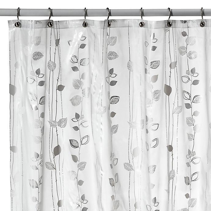 Alternate image 1 for Ivy Silver Vinyl Shower Curtain
