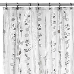 Ivy Silver Vinyl Shower Curtain