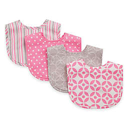 Trend Lab 4-Pack Lilly Bouquet Bib Set in Pink