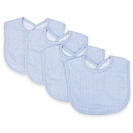 Trend Lab® 4-Pack Gingham Seersucker Bib Set in Blue/White
