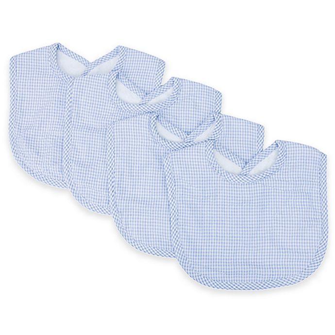 Alternate image 1 for Trend Lab® 4-Pack Gingham Seersucker Bib Set in Blue/White