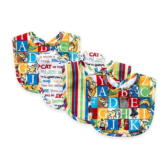 Alternate image 1 for Trend Lab® 4-pack Dr. Seuss™ Alphabet Bouquet Bib Set