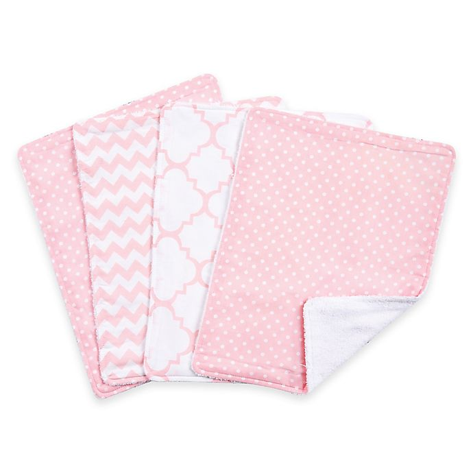 Alternate image 1 for Trend Lab® 4-Pack Pink Sky Burp Cloth Set