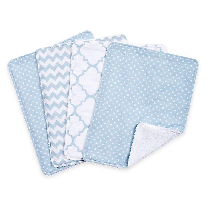 Alternate image 1 for Trend Lab® 4-Pack Blue Sky Burp Cloth Set