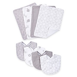 Trend Lab® 8-Piece Circles Bib and Burp Cloth Set in Grey/White