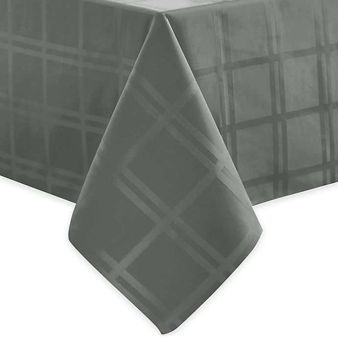 Alternate image 1 for Origins™ Microfiber 70-Inch x 102-Inch Oblong Tablecloth in Charcoal