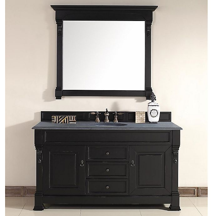Alternate image 1 for James Martin Furniture Brookfield Single Vanity with Black Rustic Stone Top in Antique Black