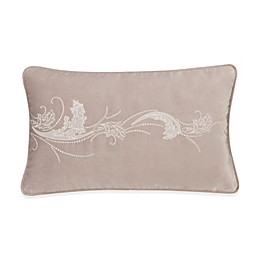 Valeron Ambroise Floral Scroll Oblong Throw Pillow in Blush