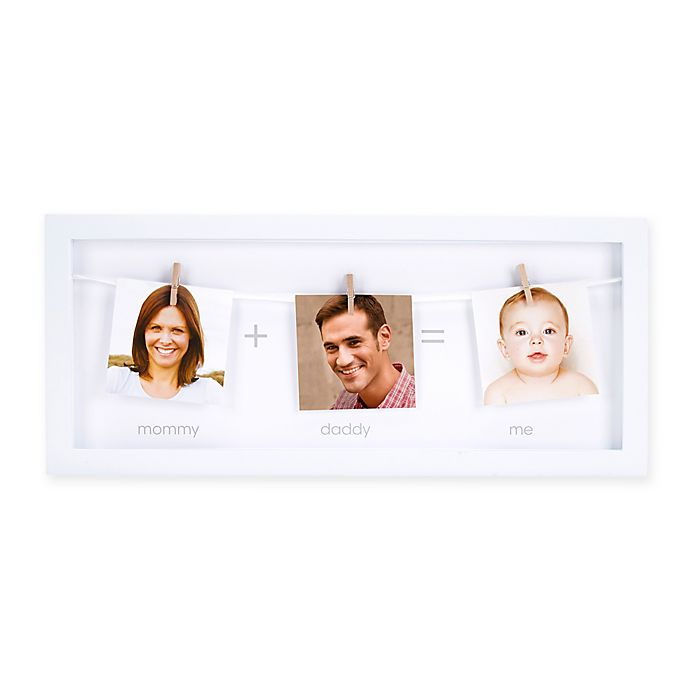 Alternate image 1 for Pearhead® 3-Photo Clothespin Family Picture Frame in White