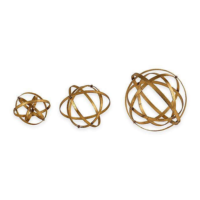 Alternate image 1 for Uttermost Stetson Spheres in Antique Gold (Set of 3)