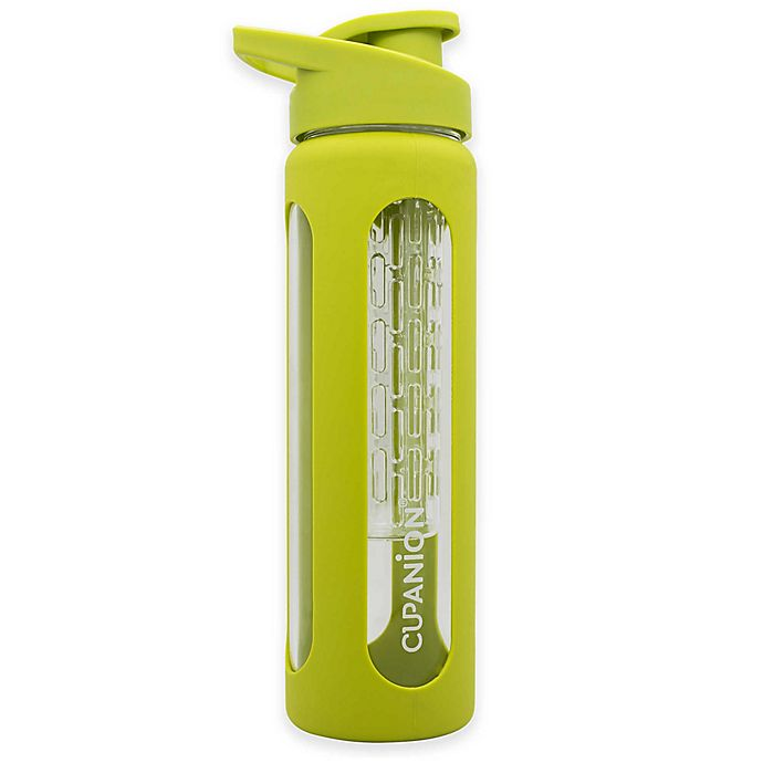 Alternate image 1 for Quirky Cupanion® 18 oz. Glass Fruit Infuser Water Bottle