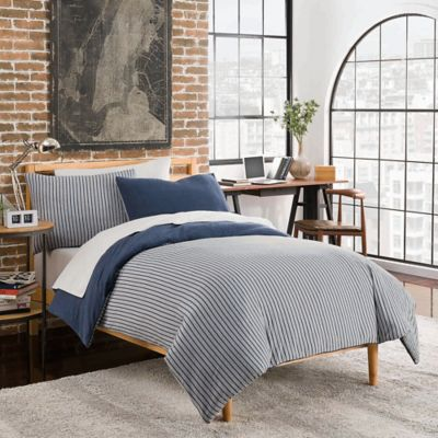 League Reversible Duvet Cover Set In Navy Grey Bed Bath