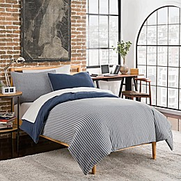 League Reversible Duvet Cover Set in Navy/Grey