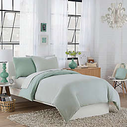 Regan Reversible Duvet Cover Set in Aqua