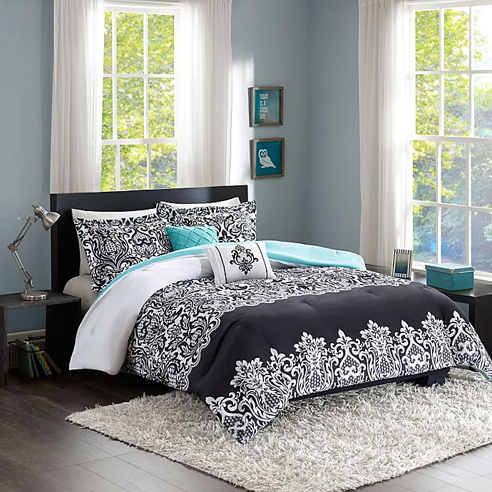 Alternate image 1 for Intelligent Design Leona 4-Piece Twin/Twin XL Comforter Set in Black/Aqua