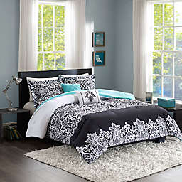 Intelligent Design Leona Comforter Set in Black/Aqua