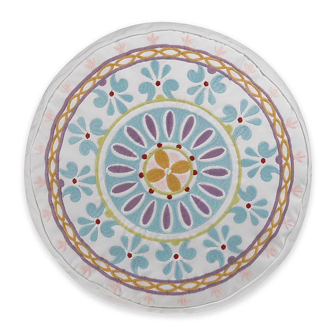 Alternate image 1 for Dena™ Home Valentina Sundial Round Throw Pillow in Aqua/White
