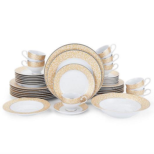 Alternate image 1 for Mikasa® Parchment Gold 42-Piece Dinnerware Set