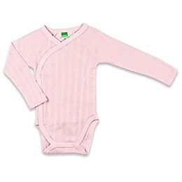 kushies® Long Sleeve Ribbed Wrap Bodysuit in Pink