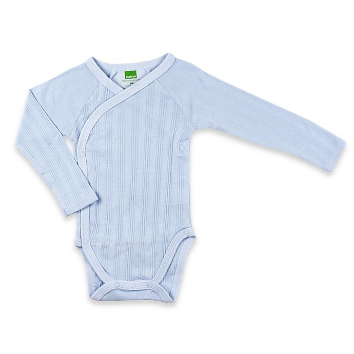Alternate image 1 for kushies® Long Sleeve Ribbed Wrap Bodysuit in Blue